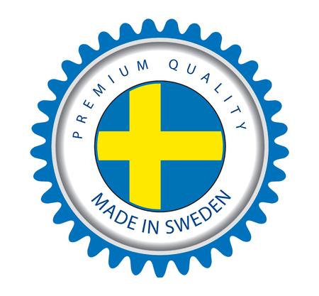 Made in Sweden Seal, Swedish Flag (Vector Art) Illustration