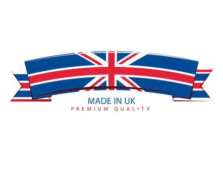 Made in UK Ribbon, United Kingdom Flag (Vector Art) Illustration