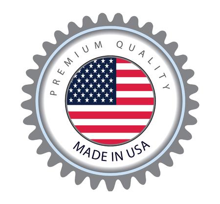미국에서 만든 인감, 미국 국기 (벡터 아트) 일러스트