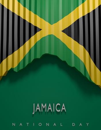 Flag Jamaican Colors, Jamaica Flag (3D Render) Stock Photo