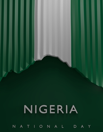 Flag Nigeria Render, Nigerian 3D Flag (3D Render) Stock Photo