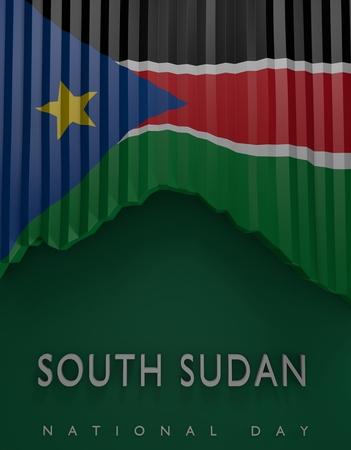 south sudan: Flag South Sudanese Colors, South Sudan Flag (3D Render) Stock Photo
