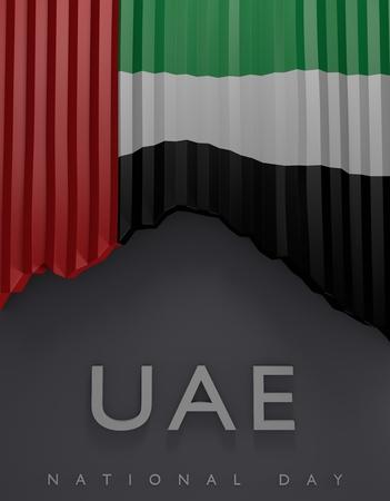 Flag United Arab Emirates Colors, UAE Flag (3D Render)