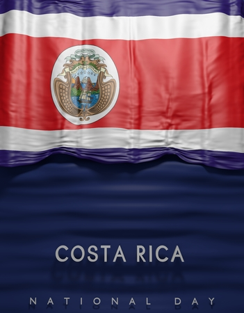 costa rican: flag Costa Rica render, Costa Rican Flag (3D render)