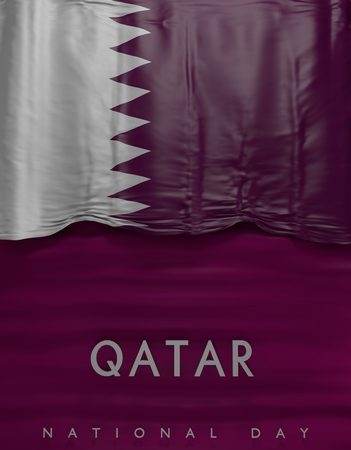 Flag Qatar Seal, Qatari Flag (3D Render) Stock Photo