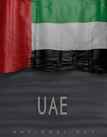 Flag United Arab Emirates Colors, UAE Flag (3D Render)