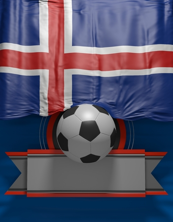 Soccer ball, Football, Flag Iceland Colors, Icelandic 3D Flag (3D Render)