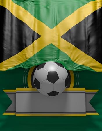 Soccer ball, Football, Flag Jamaican Colors, Jamaica Flag (3D Render)