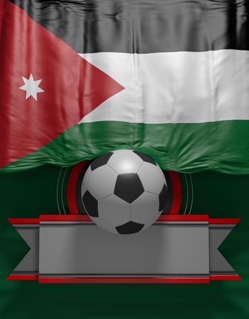 Soccer ball, Football, Flag Jordan render, Jordanian Flag (3D Render)