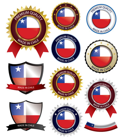 Made in Chile Seal, Chilean Flag (Vector Art)(EPS10) Illustration