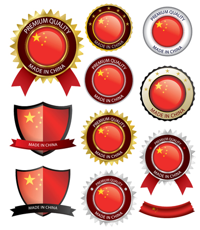 Made in China Seal, Chinese Flag (Vector Art)(EPS10) Illustration