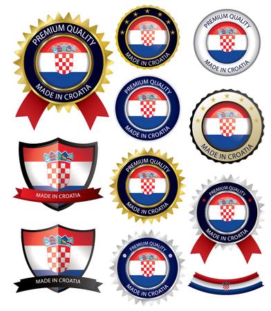 Made in Croatia Seal, Croatian Flag (Vector Art)(EPS10) Illustration