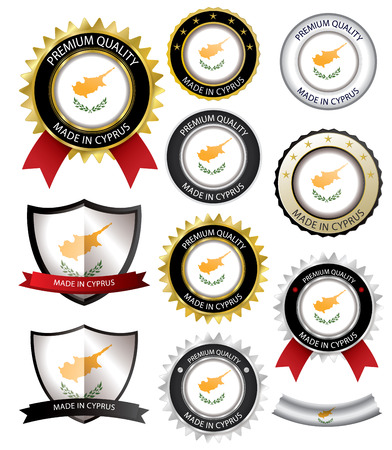 badge with ribbon: Made in Cyprus Seal, Cypriot Flag (Vector Art)(EPS10)