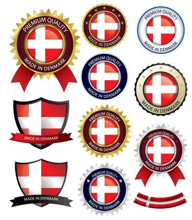 danish flag: Made in Denmark Seal, Danish Flag (Vector Art)(EPS10) Illustration