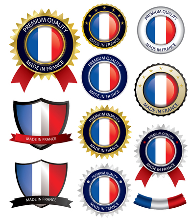 francais: Made in France Seal, French Flag (Vector Art)(EPS10)