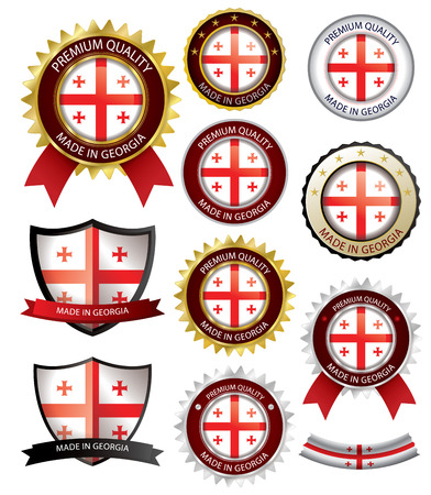 georgian: Made in Georgia Seal, Georgian Flag (Vector Art)(EPS10)