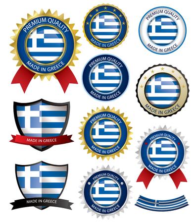 Hergestellt in Griechenland Seal, griechische Flagge (Vektorgrafiken) (EPS10) Vektorgrafik