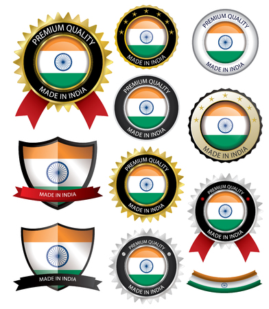 Made in India Seal, Indian Flag (Vector Art)(EPS10)