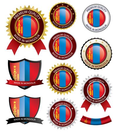 Made in Mongolia Seal, Mongolian Flag (Vector Art)(EPS10) Illustration