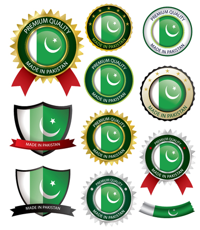 islamabad: Made in Pakistan Seal, Pakistani Flag (Vector Art)(EPS10)