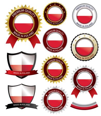 Made in Poland Seal, Polish Flag (Vector Art)(EPS10)