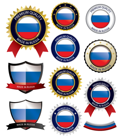 made russia: Made in Russia Seal, Russian Flag (Vector Art)(EPS10)