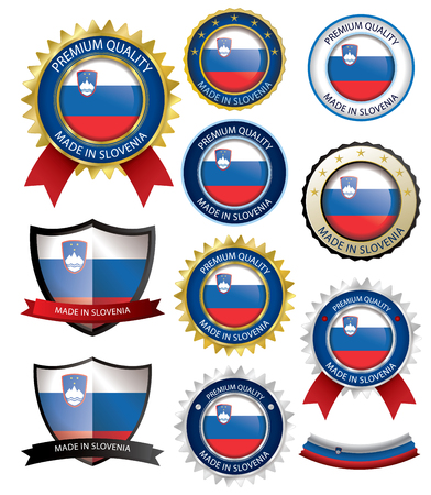 Made in Slovenia Seal, Slovenian Flag (Vector Art)(EPS10)