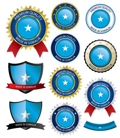 Made in Somalia Seal, Somali Flag (Vector Art)(EPS10)