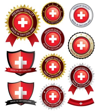 Made in Switzerland Seal, drapeau suisse (Clipart vectoriel) (EPS10) Banque d'images - 75266850