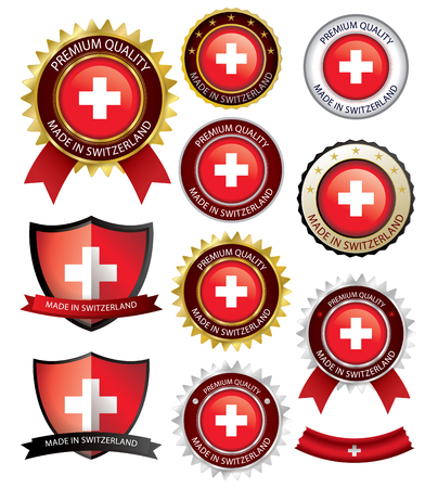 Made in Switzerland Seal, Swiss Flag (Vector Art)(EPS10)