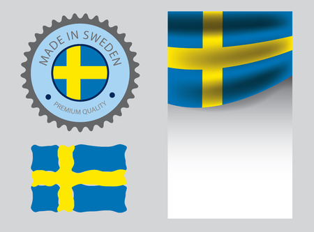 Made in Sweden seal, Swedish flag and color --Vector Art--