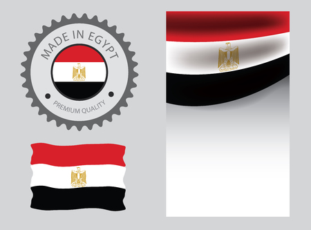 Made in Egypt seal, Egyptian flag and color --Vector Art--