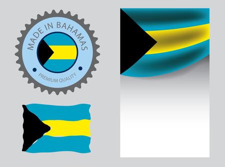 Made in Bahamas seal, Bahamian flag and color --Vector Art--