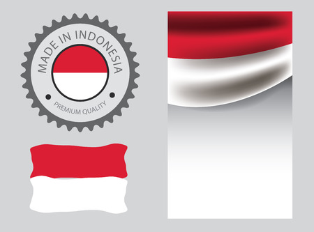 Made in Indonesia seal, Indonesian flag and color --Vector Art--