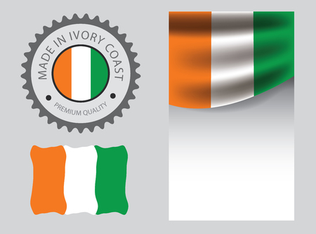 Made in Ivory seal,  Ivory Coast flag and color --Vector Art--