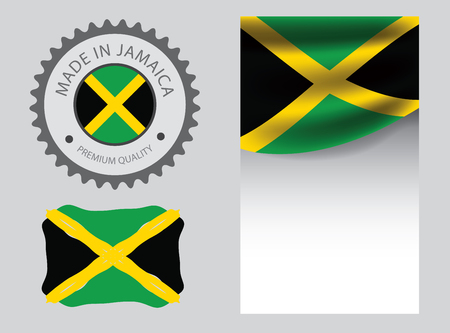 Made in Jamaica seal, Jamaican flag and color --Vector Art--