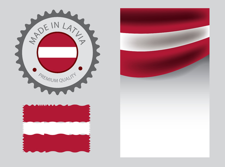 Made in Latvia seal, Latvian flag and color --Vector Art-- Illustration