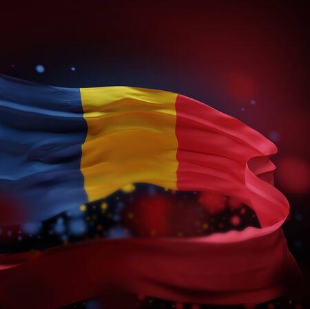 ROMANIA NATIONAL FLAG ARTWORK ,ROMANIAN COLORS (3D RENDER) Foto de archivo