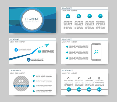 Set of color infographic elements for presentation templates. Leaflet, Annual report, book cover design. Brochure, layout, layout template design. Easy to edit. Ilustração