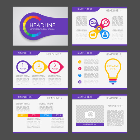 Set of color infographic elements for presentation templates. Leaflet, Annual report, book cover design. Brochure, layout, layout template design. Easy to edit. Illusztráció