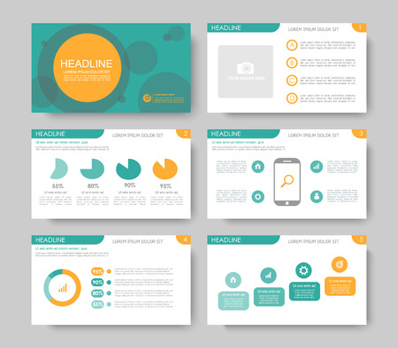 Set of green orange infographic elements for presentation templates. Leaflet, Annual report, book cover design. Brochure, layout, template design.