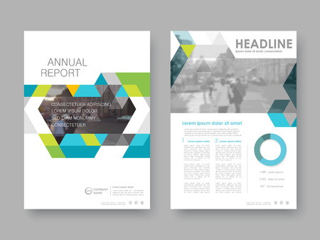 Cover design annual report,vector template brochures, flyers, presentations, leaflet, magazine a4 size. White with blue gereen abstract background