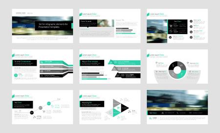Conjunto de elementos de Infografía de color plantillas de presentación. Prospecto, informe anual, diseño de la cubierta del libro. Folleto, diseño, diseño de plantilla de diseño de folleto.