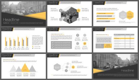 プレゼンテーション テンプレートのグレーとオレンジのインフォ グラフィック要素。リーフレット、年次報告書、書籍カバー デザイン。パンフレ