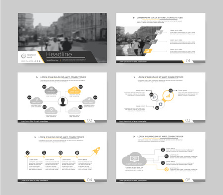 Gray and orange infographic elements for presentation templates. Leaflet, Annual report, book cover design. Brochure, layout, Flyer layout template design. Illusztráció