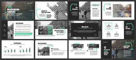 Elementos para infografías y plantillas de presentación.