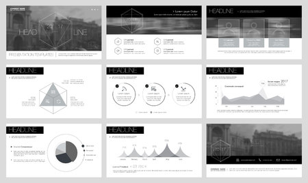 Black elements for infographics on a white background. Presentation templates. Use in presentation, flyer and leaflet, corporate report, marketing, advertising, annual report, banner. 向量圖像