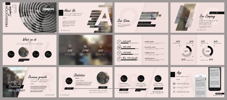Black elements for infographics on a rose background. Presentation templates. Use in presentation, flyer and leaflet, corporate report, marketing, advertising, annual report, banner.