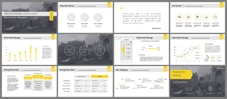 Yellow and gray elements for infographics on a white background. Presentation templates. Use in presentation, flyer and leaflet, corporate report, marketing, advertising, annual report, banner. Illustration