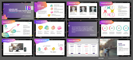 Business presentation template set.